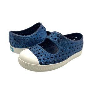 Native Glitter Waterproof Sandals Blue Sparkle
